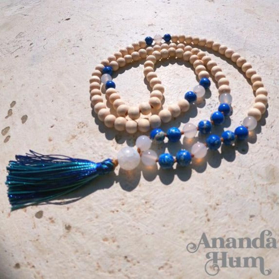 white and blue japa mala