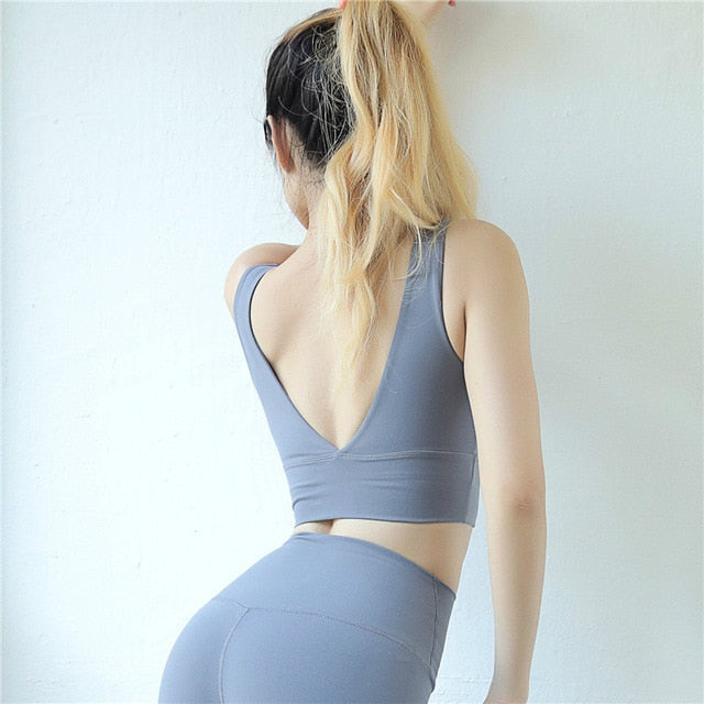 Deep-V Back Yoga Bras