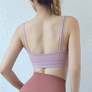 Double Spaghetti Straps Yoga Bras with Removable Pads