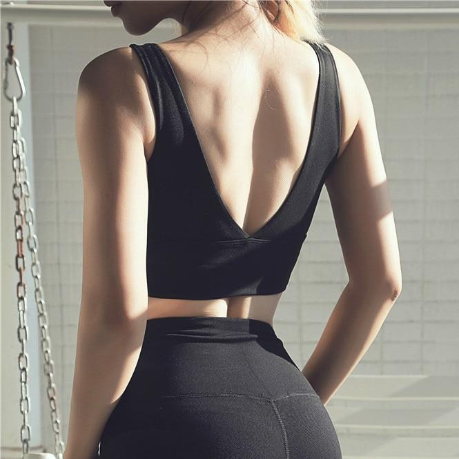 v shape back yoga bra
