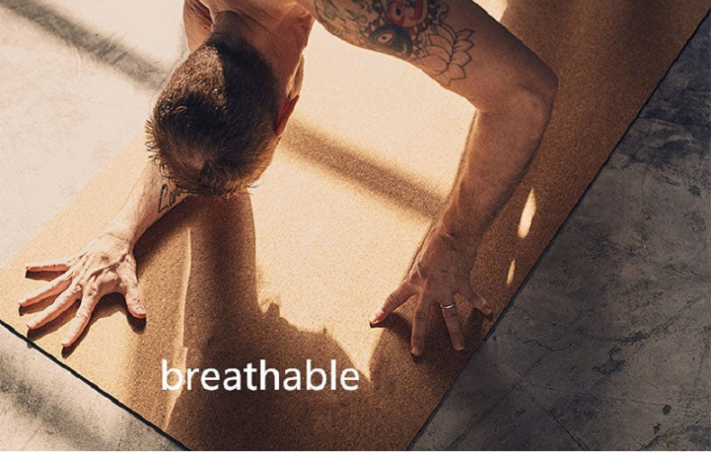 Breathable cork yoga mat