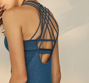strappy back yoga top
