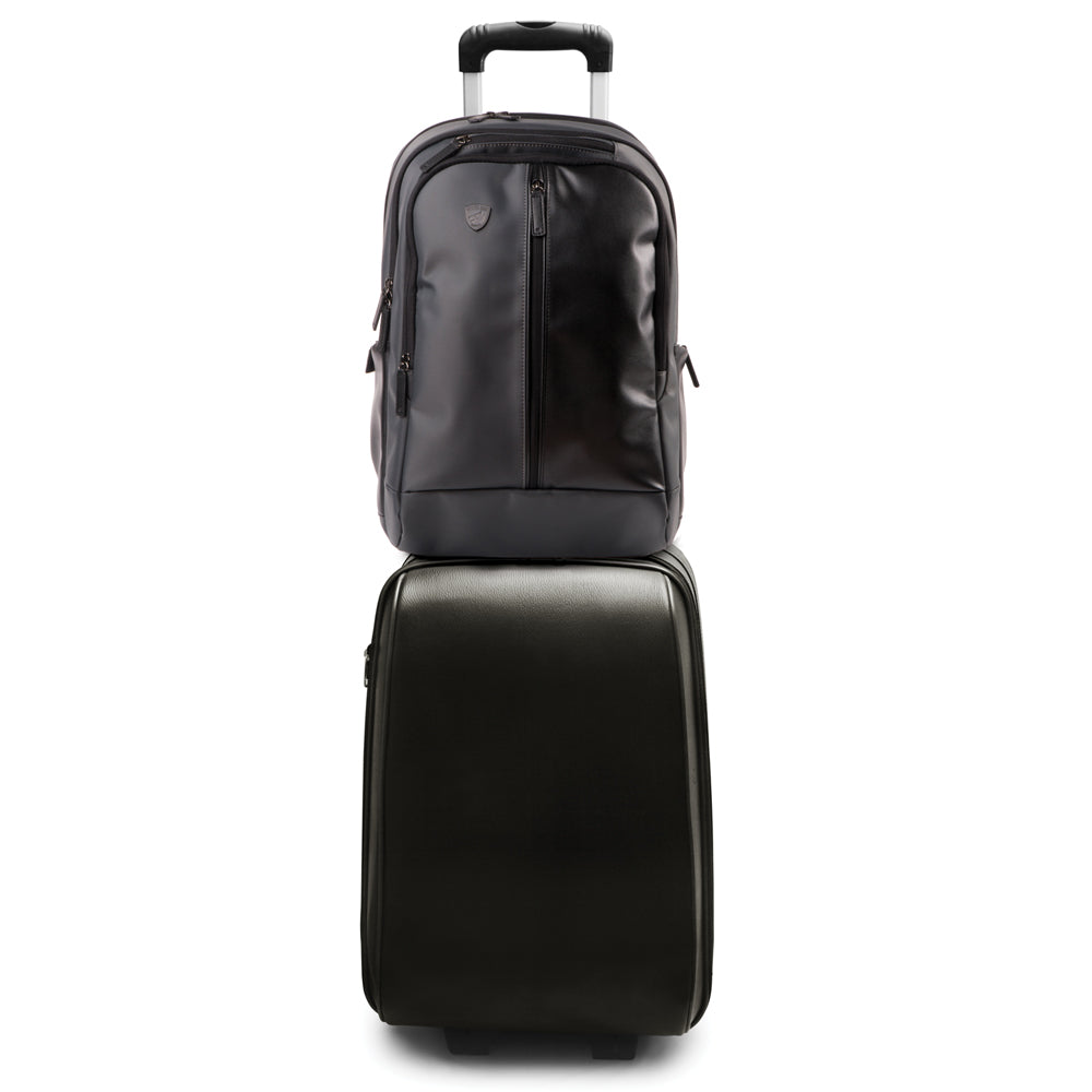 Proshield Pro Bulletproof backpack sliding on top of luggage handle for traveling.