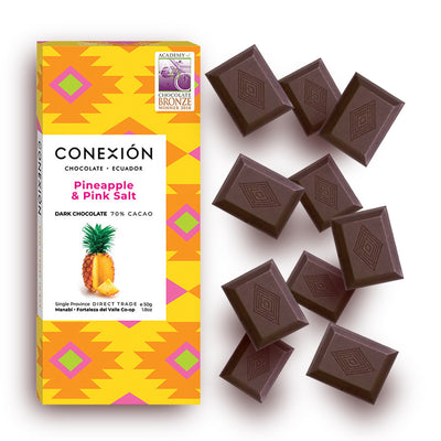 Conexion Chocolate, Exotic Inclusions Collection  | 4 Pack Vegan Dark Chocolate Bar, Gluten Free, Soy Free, Non GMO, Fair Trade | 7.4 oz Box - Everglobe Corporation