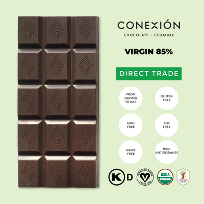 Conexion Chocolate, Virgin Flash Roast Collection | 4 Pack Organic Vegan Dark Chocolate Bar, Gluten Free, Soy Free, Non GMO, Kosher, Fair Trade | 1.76 oz Each Individually Wrapped - Everglobe Corporation
