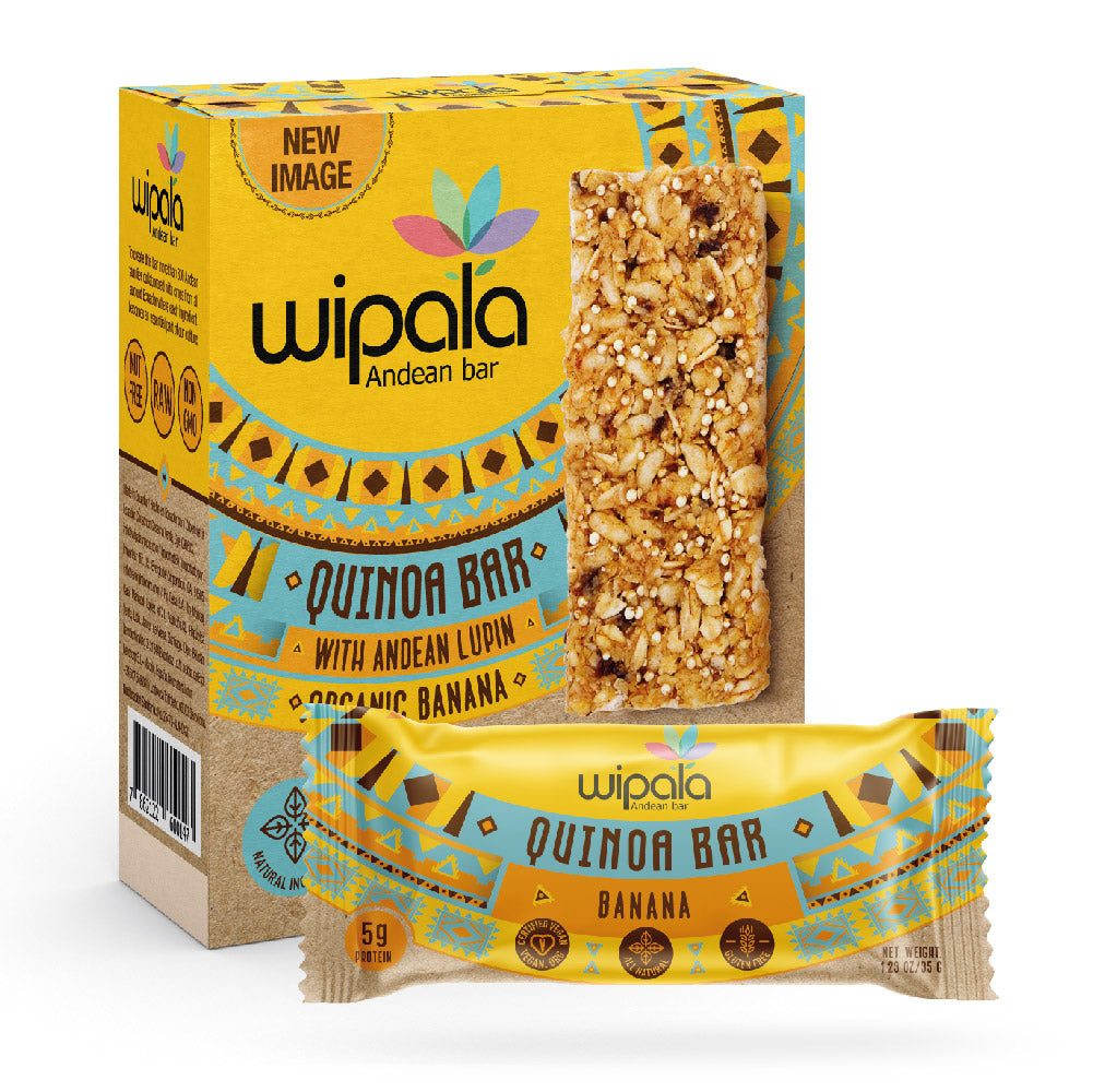 Wipala Banana Flavored Andean Bar | Display Box of 12 bars - Everglobe Corporation