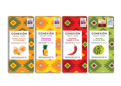 Conexion Chocolate, Exotic Inclusions Collection  | 4 Pack Vegan Dark Chocolate Bar, Gluten Free, Soy Free, Non GMO, Fair Trade | 7.2 oz Each - Everglobe Corporation