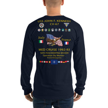 Load image into Gallery viewer, USS John F. Kennedy (CV-67) 1992-93 Long Sleeve Cruise Shirt