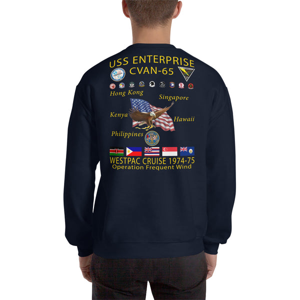 USS Enterprise (CVAN-65) 1974-75 Cruise Sweatshirt