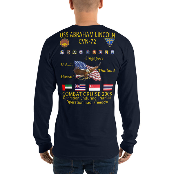 USS Abraham Lincoln (CVN-72) 2008 Long Sleeve Cruise Shirt