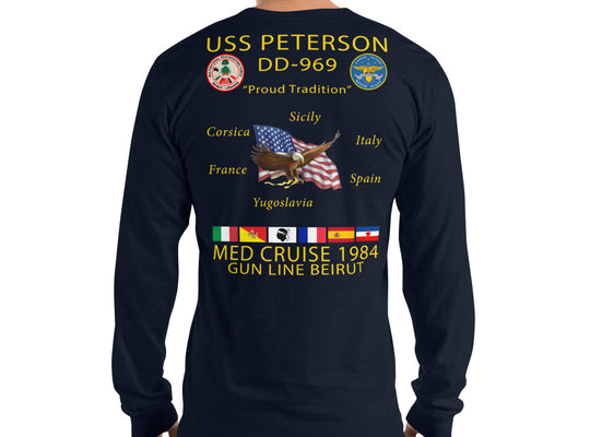 USS Peterson (DD-969) 1984 Long Sleeve Cruise Shirt
