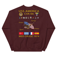 Load image into Gallery viewer, USS America (CVA-66) 1974 Cruise Sweatshirt