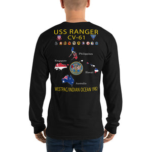 USS Ranger (CV-61) 1982 Long Sleeve Cruise Shirt - Map