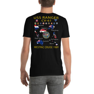 USS Ranger (CV-61) 1989 Cruise Shirt - Map