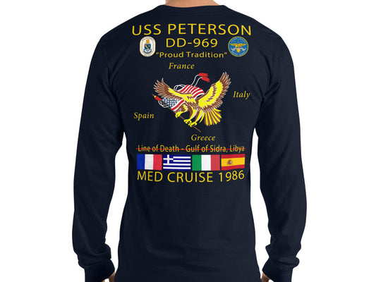 USS Peterson (DD-969) 1986 Long Sleeve Cruise Shirt