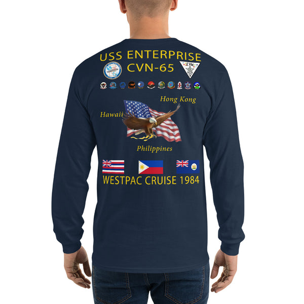 USS Enterprise (CVN-65) 1984 Long Sleeve Cruise Shirt