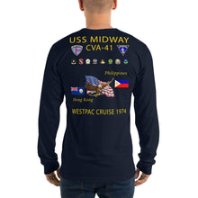 Load image into Gallery viewer, USS Midway (CVA-41) 1974 Long Sleeve Cruise Shirt