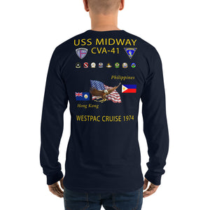 USS Midway (CVA-41) 1974 Long Sleeve Cruise Shirt