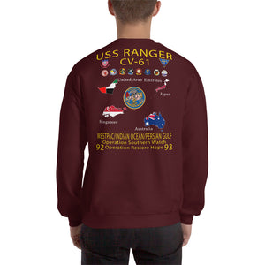 USS Ranger (CV-61) 1992-93 Cruise Sweatshirt - Map