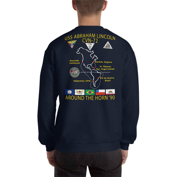 USS Abraham Lincoln (CVN-72) 1990 Around The Horn Cruise Sweatshirt