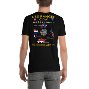 USS Ranger (CV-61) 1987 Cruise Shirt - Map