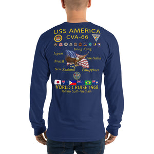 USS America (CVA-66) 1968 Cruise Shirt Long Sleeve Cruise Shirt