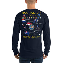 Load image into Gallery viewer, USS Ranger (CV-61) 1989 Long Sleeve Cruise Shirt - Map