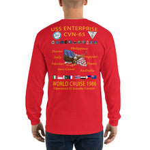 Load image into Gallery viewer, USS Enterprise (CVN-65) 1986 Long Sleeve Cruise Shirt