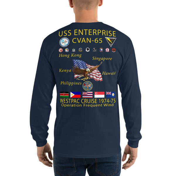 USS Enterprise (CVAN-65) 1974-75 Long Sleeve Cruise Shirt