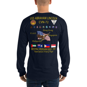 USS Abraham Lincoln (CVN-72) 1991 Long Sleeve Cruise Shirt