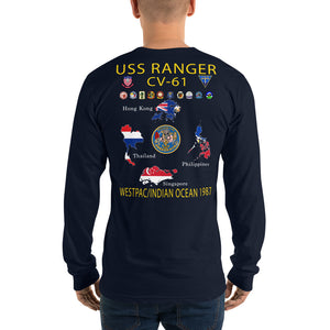 USS Ranger (CV-61) 1987 Long Sleeve Cruise Shirt - Map