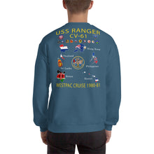 Load image into Gallery viewer, USS Ranger (CV-61) 1980-81 Cruise Sweatshirt - Map