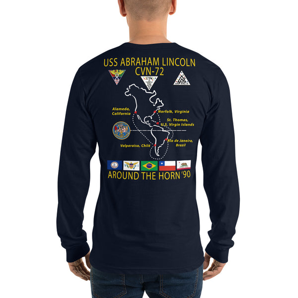 USS Abraham Lincoln (CVN-72) 1990 Around The Horn Long Sleeve Cruise Shirt
