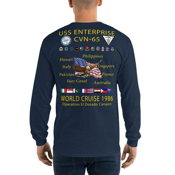 USS Enterprise (CVN-65) 1986 Long Sleeve Cruise Shirt