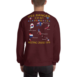 USS Ranger (CV-61) 1979 Cruise Sweatshirt - Map