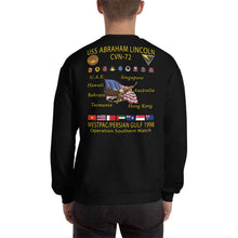 Load image into Gallery viewer, USS Abraham Lincoln (CVN-72) 1998 Cruise Sweatshirt