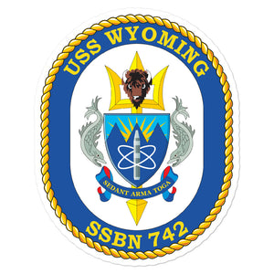 USS Wyoming (SSBN-742) Ship's Crest Vinyl Sticker