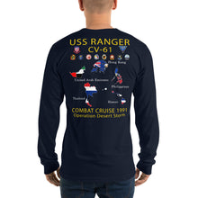 Load image into Gallery viewer, USS Ranger (CV-61) 1991 Long Sleeve Cruise Shirt - Map
