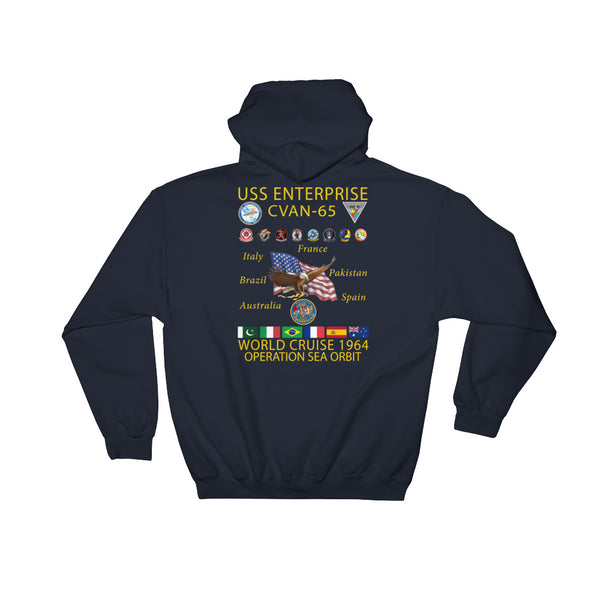 USS Enterprise (CVAN-65) 1964 Operation Sea Orbit Cruise Hoodie