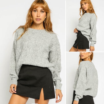 LARISSA FUZZY CABLE KNIT SWEATER