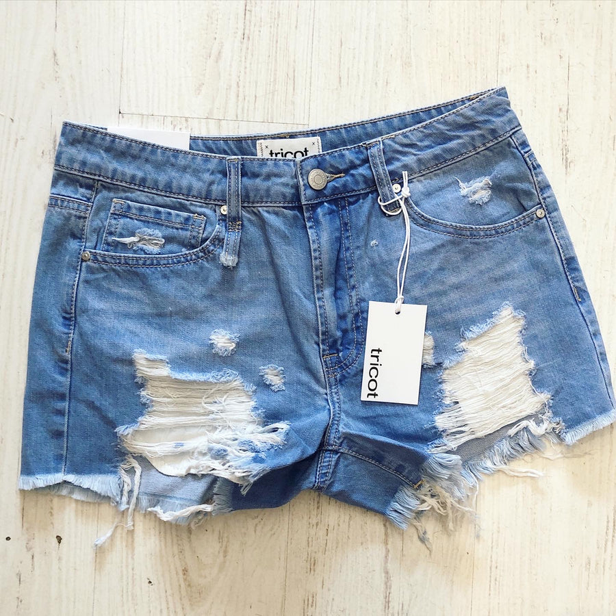 HOGAN DISTRESSED DENIM SHORTS