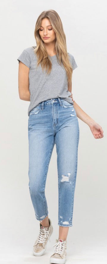 VERVET FREE ME  DISTRESSED MOM JEAN
