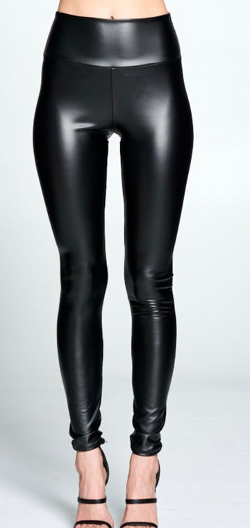 JABBER HIGH RISE PLEATHER LEGGING