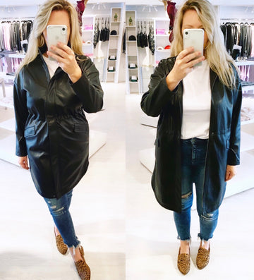 BB DAKOTA VEGAN LEATHER COAT