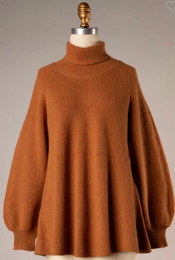 LUCIA BALLOON SLEEVE TURTLENECK SWEATER