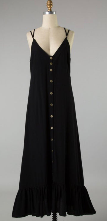 CROSS BACK BUTTON MAXI DRESS