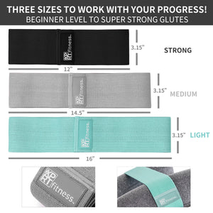 3 Fitness Resistance Bands Set - For Booty Butt Hip Anti Slip Bands Set