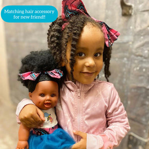 Positively Puffy Bee - African American Black Latino Hispanic Biracial Multicultural Curly Natural Hair 12 inch Baby Doll
