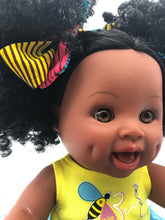 Load image into Gallery viewer, Sugar Puff Bee - African American Black Latino Hispanic Biracial Multicultural Curly Natural Hair 12 inch Baby Doll