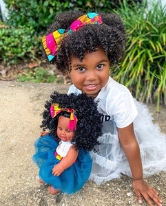 Natural Ella Bee - African American Black Latino Hispanic Biracial Multicultural Curly Natural Hair 12 inch Baby Doll